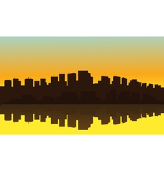 Silhouette of big city suburb vector