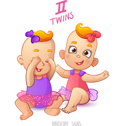 Twins horoscope sign two cartoon baby girls vector