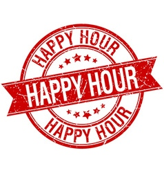 Happy hour grunge retro red isolated ribbon stamp vector