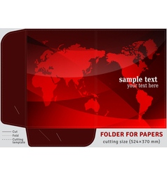 Template cardboard folder for papers vector