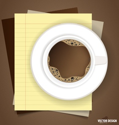 A cup of coffee with note papers ready for your vector