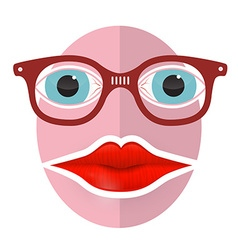 Abstract Funky Face with Big Mouth and Glasses vector image vector image