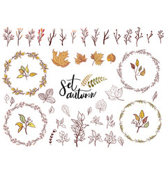 autumn set of fall themed circle shaped frames vector image vector image