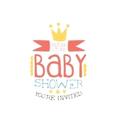 Baby shower invitation design template with crown vector