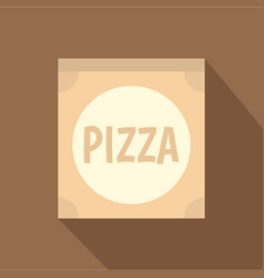 Cardboard box with pizza icon flat style vector