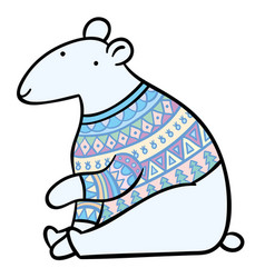 cartoon polar bear in sweater vector image