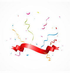 celebration banner with ribbon and confetti vector image vector image