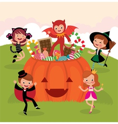 Children at Halloween party vector image vector image