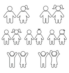 children line icon set vector image vector image