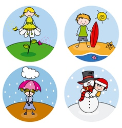 children showing the four seasons vector image vector image