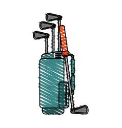 color crayon stripe cartoon bag with golf clubs vector image vector image