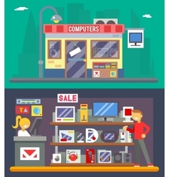 Computer Shop Interior Seller Goods Offer Sale vector image vector image