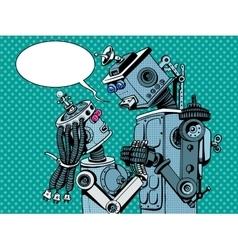 couple robots man woman love vector image vector image