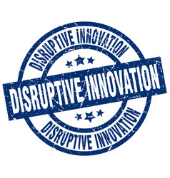 Disruptive innovation blue round grunge stamp vector