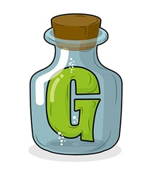 G in bottle for scientific research letter in a vector image
