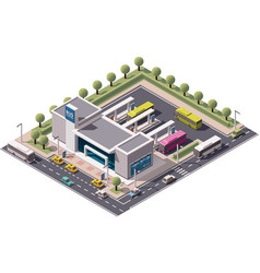 Isometric bus station vector