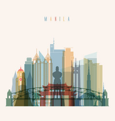 manila skyline detailed silhouette vector image