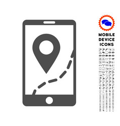 Mobile map navigation icon with set vector