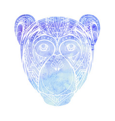 Monkey with watercolor background decorated tribal vector