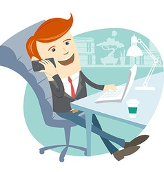 Office man sitting at his working desk with phone vector image