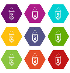 pennant with soccer ball icon set color hexahedron vector image vector image