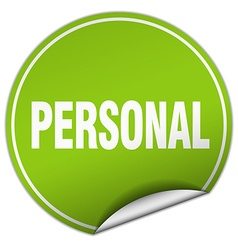 Personal round green sticker isolated on white vector
