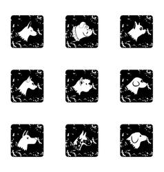 Pet dog icons set grunge style vector