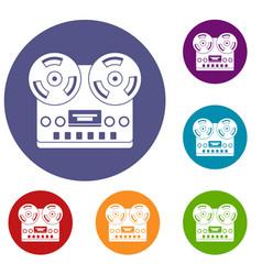 Retro tape recorder icons set vector