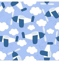 seamless pattern with flying in the sky airplanes vector image vector image