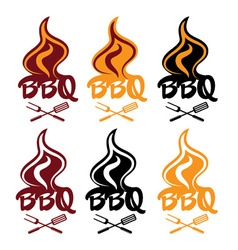 Set of bbq design template vector