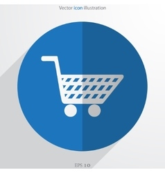 shopping cart web flat icon vector image vector image