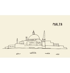Sketch malta view drawn vector