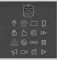Social media handmade icon doodle set vector