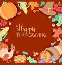 square banner frame with thanksgiving symbols vector image vector image