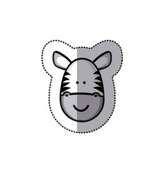 Sticker colorful picture face cute zebra animal vector