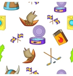 Sweden pattern cartoon style vector