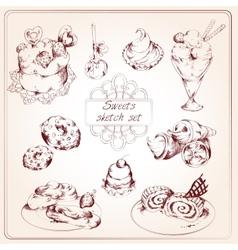Sweets sketch set vector image vector image