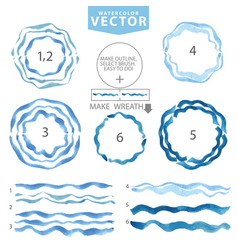 Watercolor wavy brushescircle framecyanblue sea vector