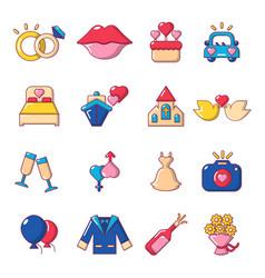 Wedding icons set cartoon style vector