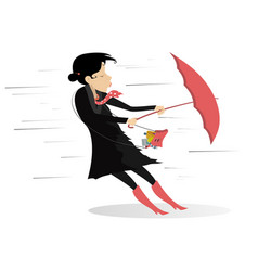 windy day and woman with umbrella isolated vector image vector image