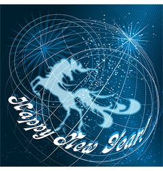 Year of the horse blue vector image vector image