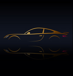 Yellow sports vehicle silhouette vector