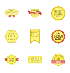 Tag quality icons set cartoon style vector