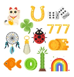 Flat style set of luck objects vector