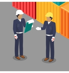 Cargo worker and foreman talking in warehouse vector