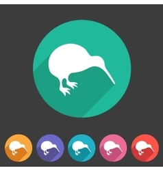 Kiwi bird icon flat web sign symbol logo label vector image