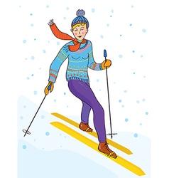 Ski girl funny retro cartoopn vector image