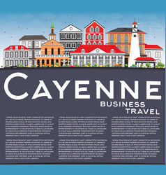 Cayenne skyline with color buildings vector