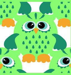 cartoon style seamless owl pattern fir ki vector image