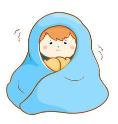 Ill boy shivering hard under blanket vector